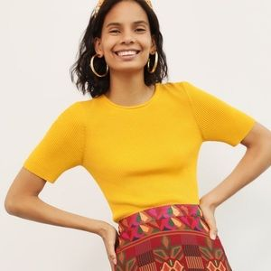 NWT Anthro Maeve Josefa Ribbed Sweater Tee In Gold